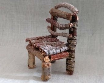 Fairy Miniature Rustic Chair With Tree Twigs from Various Trees And Bushes