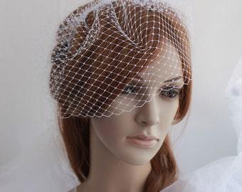 Bridal Birdcage Veil, Wedding Bird cage Headpiece, Ivory White French Netting Veil Comb, 9 inch veil, Blusher Birdcage Veil