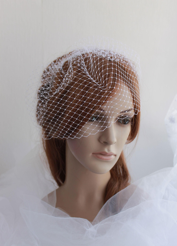Birdcage veil Ivory White Black Bridal Wedding Veil  Blusher wedding fascinator