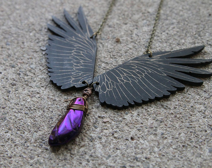 Featured listing image: Raven Necklace, Wings Necklace, Anodized Hematite, Statement Necklace, Pagan Necklace, Good Omen Necklace, Raven, Gothic Necklace