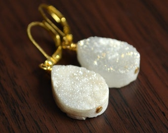 Simple Druzy Earrings, Leverback Earwires, Gold Plated, White Teardrop, Lever Back, Raw Crystal Jewelry for Women