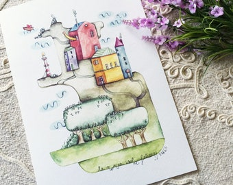 """Our happy island  - Watercolour illustration, from the """"Little houses"""" series, by Elisa Ansuini"""