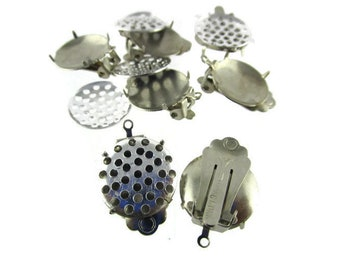 2 Silver Plated 15mm Pad Clip on Earrings /Sieve Setting  33 holes/ Dangle  Setting /2 Pieces (1 pair )/ Signed HONG KONG