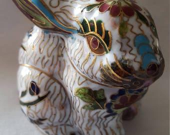 Vintage Cloisonne Lucky Rabbit