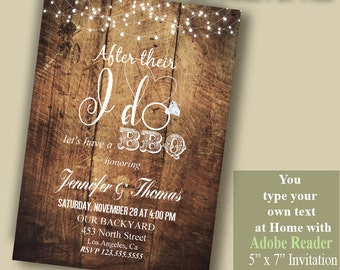 I DO BBQ Invitation, couples shower, Instant Download Self editable PDF File, you type your own text wit Adobe Reader A1017