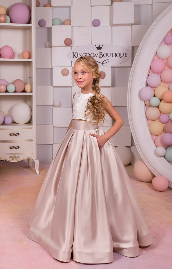 Ivory Cappuccino Lace Satin Flower Girl Dress Wedding Party