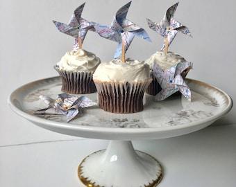 Map Pinwheel Cupcake Toppers, Vintage Wedding, Adventure Party Decor, Travel Theme Cupcake Topper, Destination Wedding