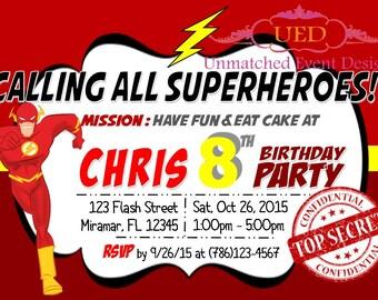 Flash Invitation, Superhero Invitation, Flash Birthday Invitation, Superhero Birthday, Marvel Invitation (DIGITAL FILE/DIY Printing)