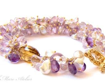 Amethyst Bracelet with Topaz, Keishi Pearl