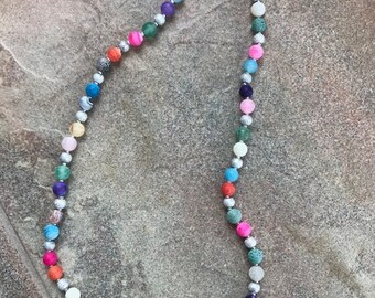 Multi-Color Agate Stone Necklace