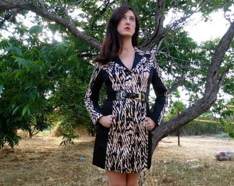 Mini Black Dress, Black and light Brown Dress, 70s Dress, Elegant Vintage Dress For Women 1970s, Midi Dress, Long sleeves Dress, Mini Dress