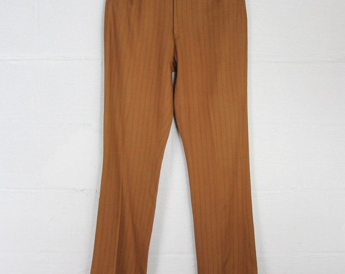 Vintage Men's Vertical Striped Brown 60s Boot Cut Pants  Handmade Jeans Slim Slacks Dress Pants Distressed 31 x 33