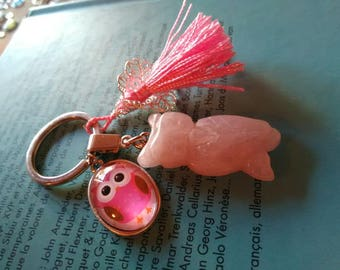 Key ring with cabochon glass 25 x 18 mm and the OWL in rose quartz