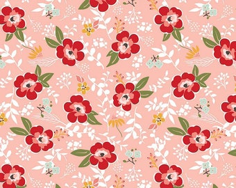 Riley Blake Fabric - Sweet Prairie Main C6540 Coral by Sedef Imer - Calico, Quilt, Quilting, Crafts