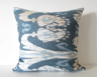 Blue Tones Ikat Decorative Pillow Cover