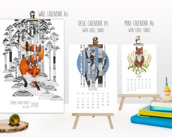 2018 year from May till next May mini Animal Calendar Forest Stories Nature Desk Wall Mini calendar Animal Cat Home decor Fox bird