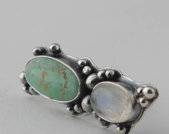Moonstone and Turquoise Sterling Silver Ring, Southwestern Ring, Boho Jewelry
