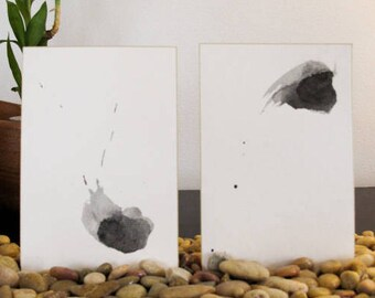 Contemporary Abstract Painting- Small painting - Zen Art for Meditation - Sumi ink Painting  - Set of 2
