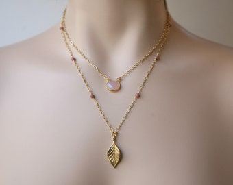 Two Strand Pink Gemstone and Vintage Gold Dangling Leaf Minimalist Delicate and Understated Necklace