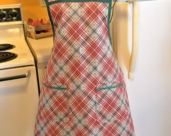 Vintage Rustic Style Winter  Apron in Red and Green Plaid