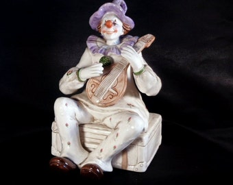 Free US Shipping, 1991 Signed Yamada Schmid Porcelain Clown Working Music Box, Plays If I Were a Rich Man