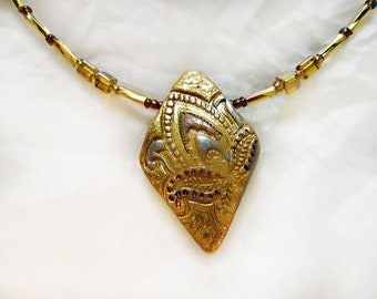 Triangle/Art Deco Necklace/For Her/Gift 25/Handmade