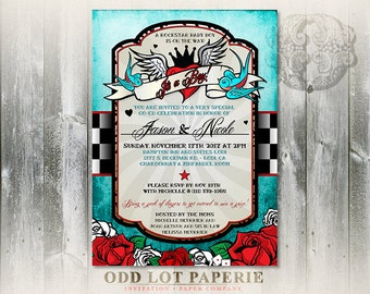 Rockabilly Baby Shower Invitation, Rocker Baby Shower, Tattoo Baby Shower invitation,Digital invitations, Rock N Roll Shower Theme DIY