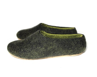 Winter Slippers For Women Felted Slippers black lime green, Womens Loafers Organic Wool Slippers Women, Everyday Comfort Wool Slippers Sale