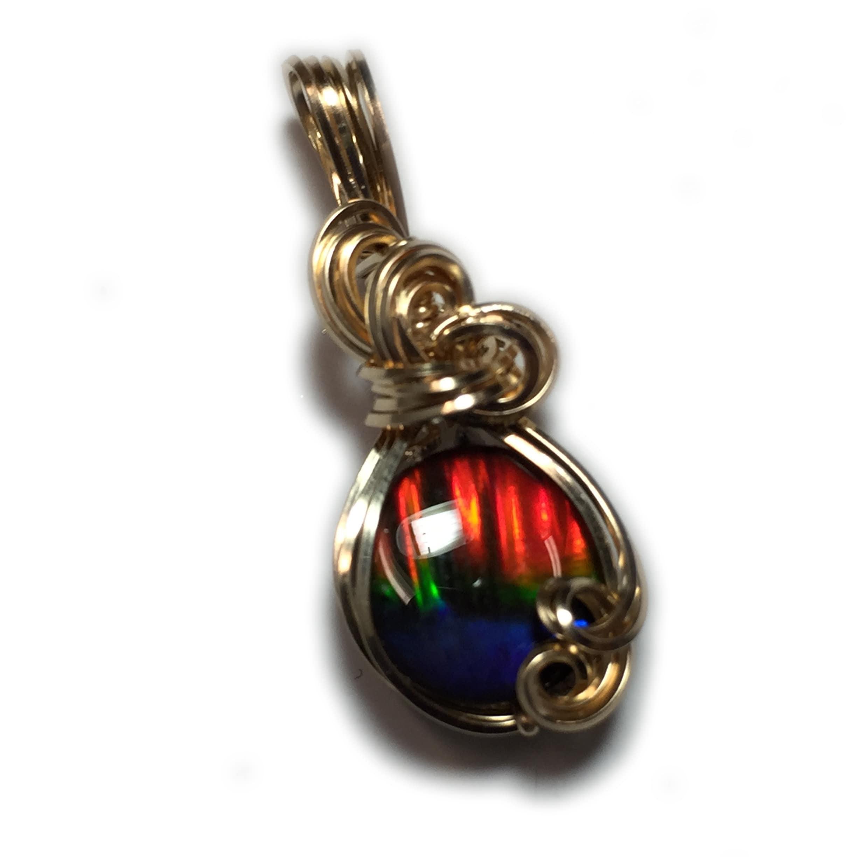 AMMOLITE PENDANT, Crystal Top, Rainbow, 14k Gold, Gold Fill, Pendant ...