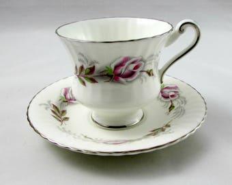 "Paragon ""Rose Ballet"" Tea Cup and Saucer, Pink Roses, Vintage Bone China"