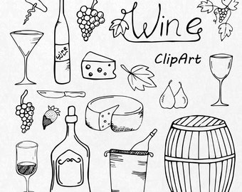 Hand Drawn Wine clipart, wine glass clipart, PNG, AI, EPS, vector, toasting glasses, grape and cheese, Personal and Commercial Use