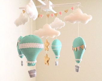 Baby mobile, mint hot air balloon baby mobile,  gold mobile, hot air balloon mobile, blush pink mobile, nursery crib mobile, nursery decor