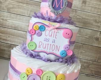 Cute as a Button Diaper Cake, Cute as a Button Baby Shower Centerpiece, Cute as a Button Baby Shower Decorations
