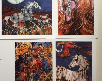 Horse Batik cards set  3rd edition   -  Horse  of Spirit series   -   Set of four blank cards