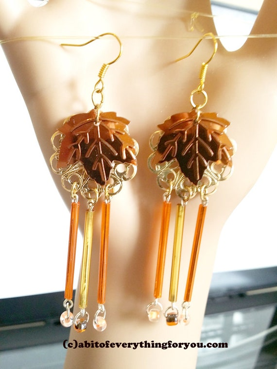 fall brown and gold leaf chandelier earrings, bead drop earrings long dangles handmade jewelry