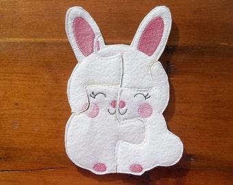 Easter Bunny Felt Puzzle : Large pieces for little hands. Toddler Puzzle, Bunny Puzzle, Party Favor, Basket Filler, Educational