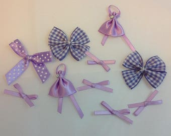 X 8 mini bows in purple and white satin and gingham
