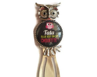 """Bookmark paper clip """"OWL""""/Tata/""""Auntie she is too cool"""" / Wonderland faby/gift/party / thanks"""