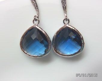 Sapphire blue Earrings, Teardrop Earrings, Wedding Jewelry Bridesmaids Gift Dangle Earrings, Sapphire blue Bridal Earrings,