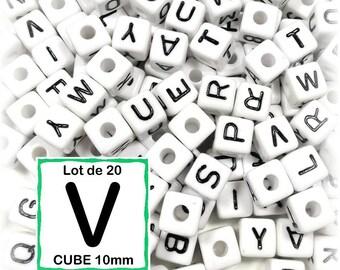 """20 pearls """"V"""" alphabet 10 mm - 10mm cube letter beads"""