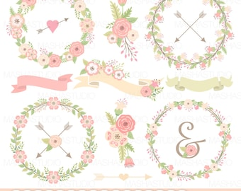 "Wedding flowers wreaths clipart: ""FLOWERS WREATHS"" with floral wreaths clip art, wedding clipart, floral bouquets, ribbons, arrows"