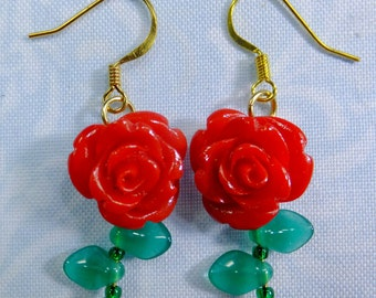 Romantic Red Roses Earrings Blood Red Resin Rose Beads with Tiny Green Leaf Beads Dangle Style