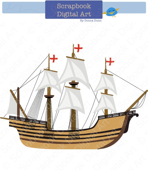 mayflower digital clip art carabela clipart caravel clipart rh etsy com mayflower clip art free mayflower clipart free