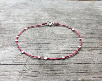 dainty BEADED silk cord bracelet in sterling silver, gold filled, rose gold filled stacking bracelet,friendship, dainty layering bracelet