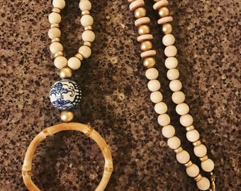Blue and white necklace with bangle