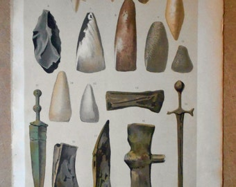 1879 PRIMITIVE WEAPONS. Prehistory. Authentic chromolithograph of nineteenth century