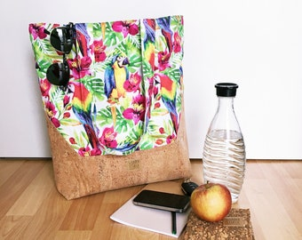 Large shopper bag-handbag made of canvas and Korkstoff with parrot motif