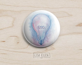 Love Bulb Badge - Illustration Pinback Button - Light bulb