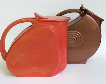 Mid Century Pitchers Pair of Early Plastic Pitchers