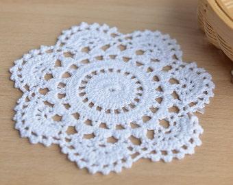 2pcs White Appliques Round Cotton Flower Lace Venice Patches